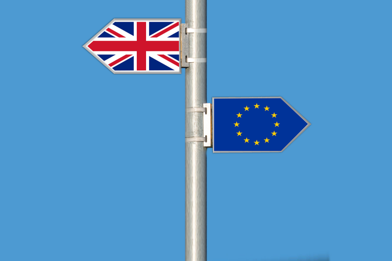 Britain and Europe sign posts